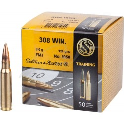 Патрон Sellier & Bellot кал. 308 Win пуля FMJ масса 8 грамм/ 124 гран. Нач. скорость 905 м/с.